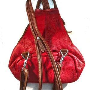 🎒Clarks Convertible Leather Mini Backpack Red Bag